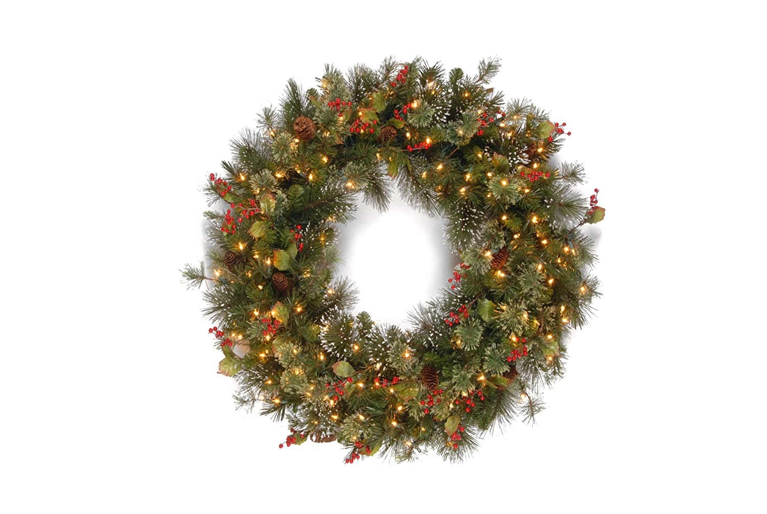 National Tree 48 Inch Wintry Pine Wreath with Cones, Red Berries, Snowflakes and 200 Clear Lights (WP1-300-48W) National Tree - Drop Ship
