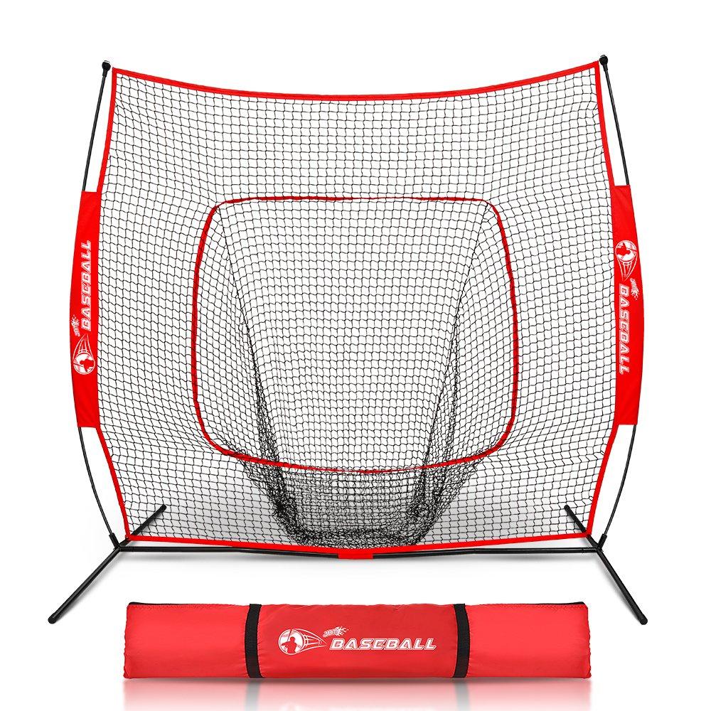 "JBM Power Net 7 X 7"" Baseball/Softball Hitting Net Bow Fram & Carry Bag Trainning Equipment Practising Hiting, Pitching, Batting Catching, Red"