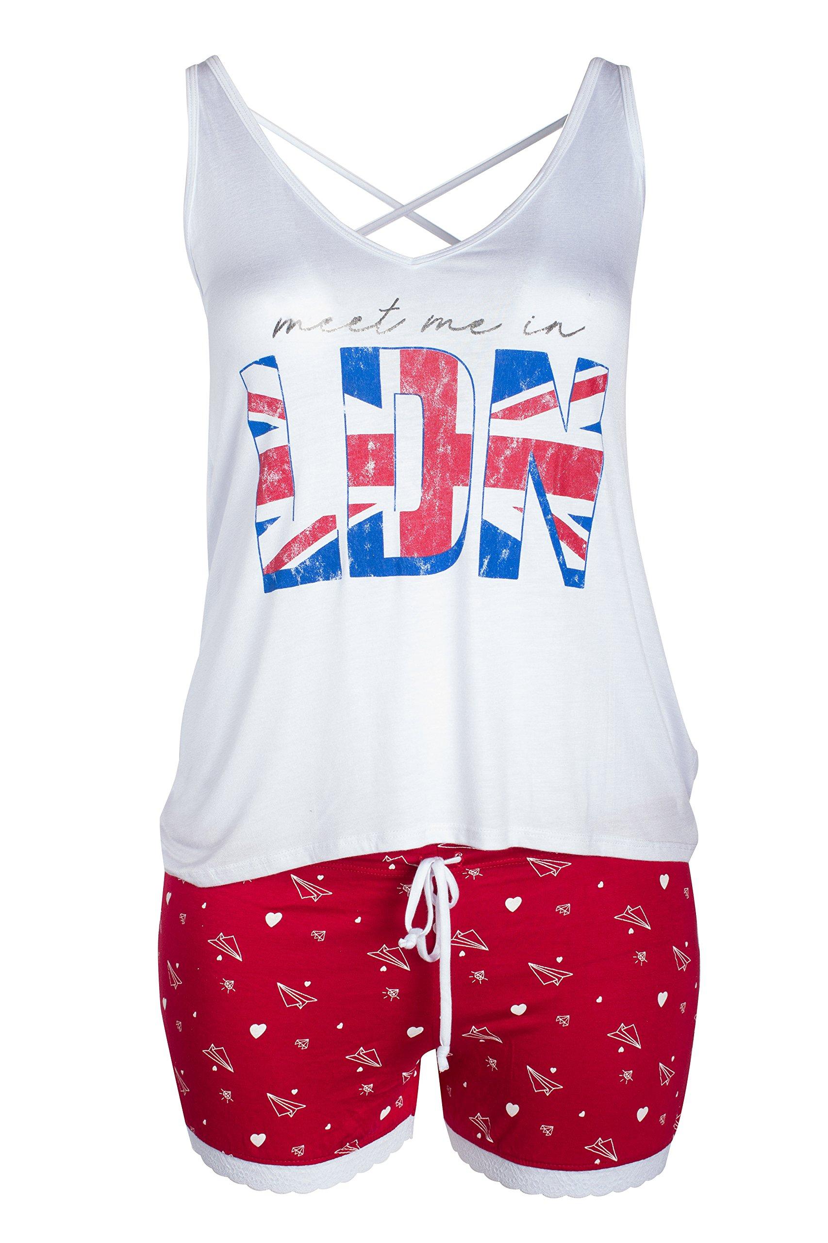 Curvy Couture Women's Petite Plus LDN Sleep Set, White, XL