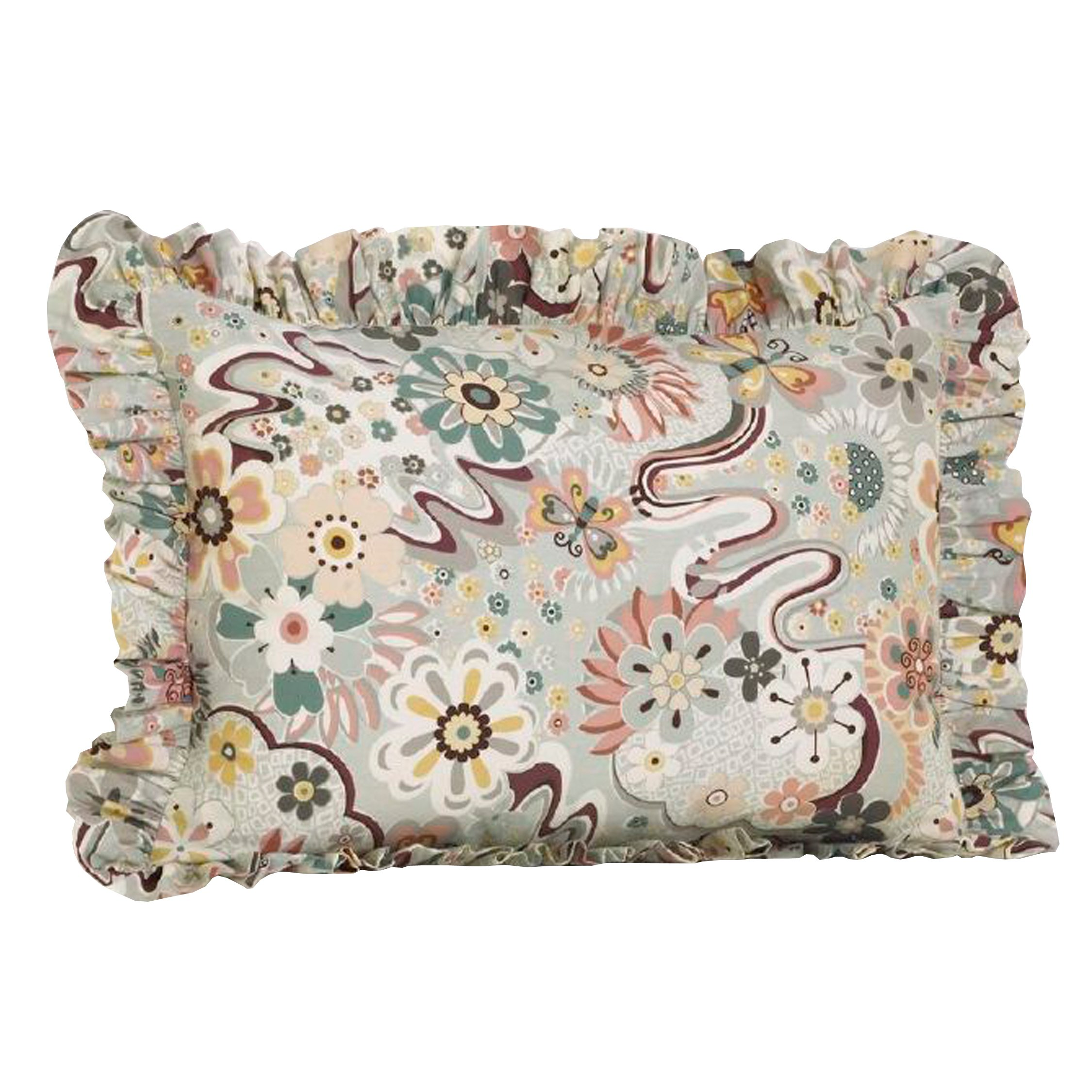 Cotton Tale Designs 100% Cotton Fun Multi Colored Retro Floral & Butterflies Penny Lane Standard Ruffled Pillow Sham - Girl - Pillow Cover