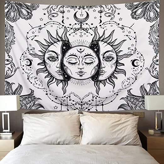 51.2 x 59.1 Sevenstars Sun and Moon Tapestry Black and White Tapestry Psychedelic Fractal Faces Tapestry Wall Hanging Durable Easy to Hanging Machine Washable 51.2 x 59.1 Durable Easy to Hanging Machine Washable