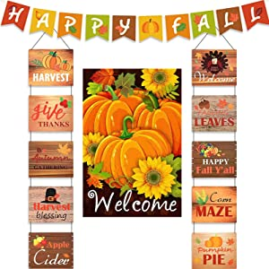 PoSeitiks Thanksgiving Banner, Hanging Banner and Garden Flag, Fall Porch Sign Decorations Outdoor, Harvest Hanging BannerWall Decorations for Thanksgiving Fall Party Decor