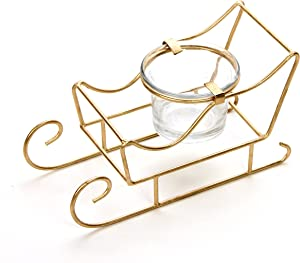 Hosley 5.5 Inch Long Sleigh Tea Light LED Candle Holder. Makes a Great Decor for Christmas Winter Wedding Gift or Home Decor Aromatherapy Spa O9