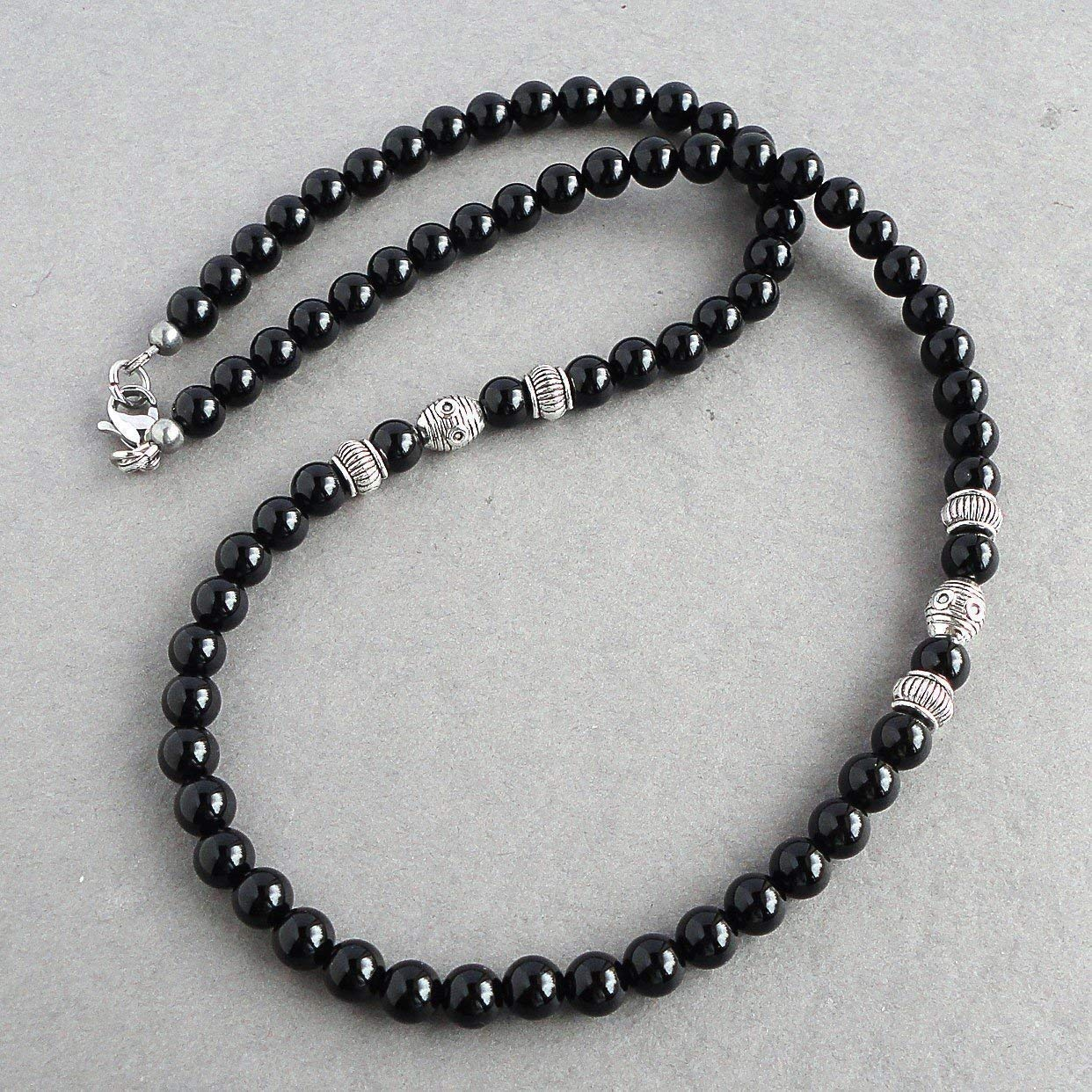 Mens 6mm Black Onyx Necklace 18, 20, 22 inch High Quality Gemstone Jewelry - Handcrafted in USA