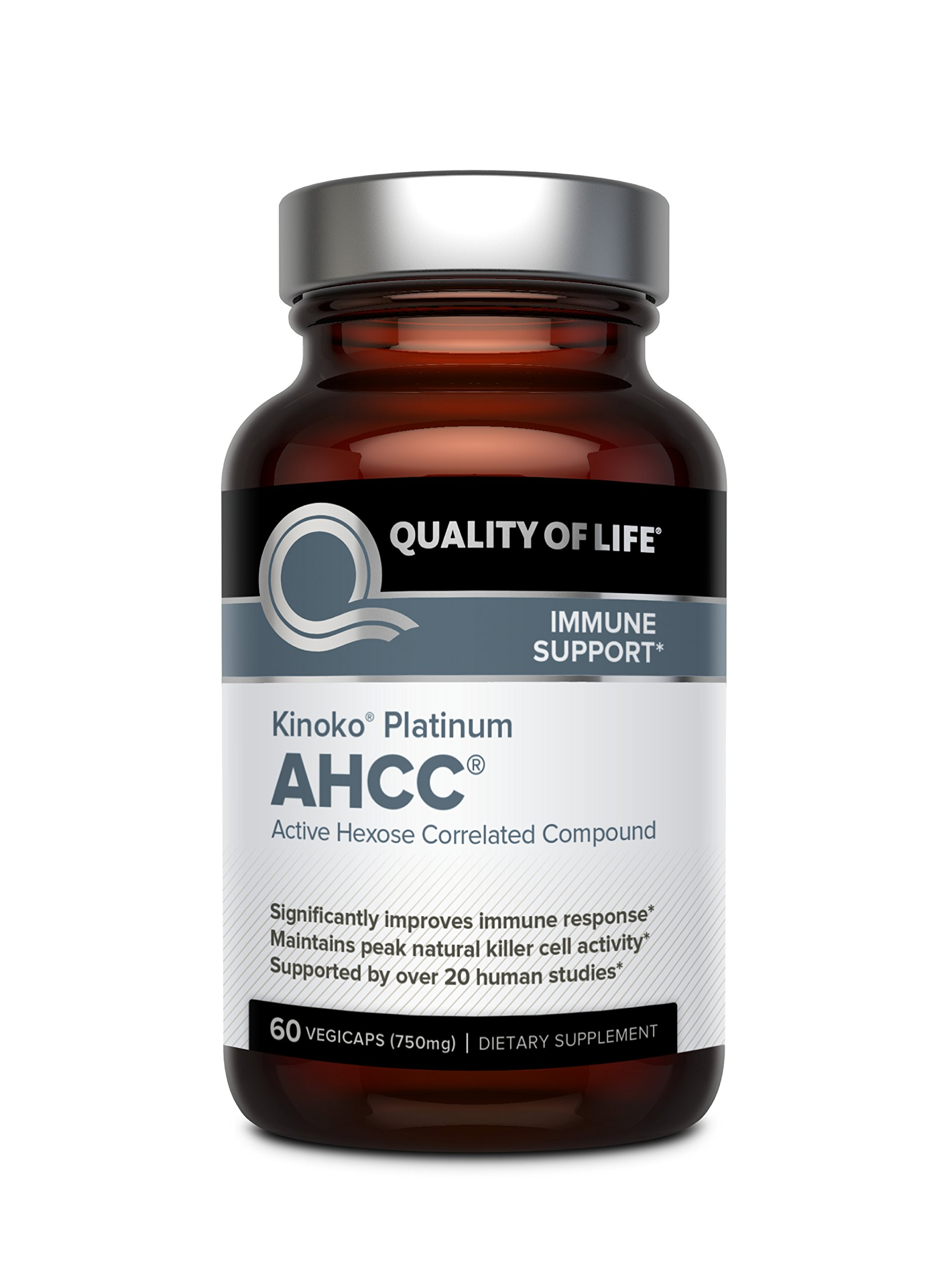 Premium Kinoko Platinum AHCC Supplement – 750mg of AHCC per Capsule – Supports Immune Health, Liver Function, Maintains Natural Killer Cell Activity – 60 Veggie Capsules