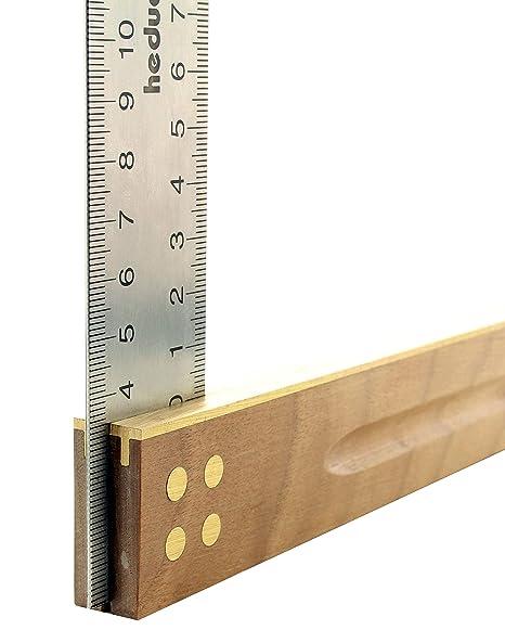 HEDUE/ Madera de nogal, 400/mm acero inoxidable Hojas 35/mm, 1/pieza, A140 /Escuadra de carpintero