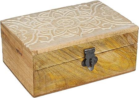 com-four® Caja de Madera con Tapa y Cierre de Metal - Cajita de Madera Rústica - Pequeño Cofre de Tesoro Tallado a Mano [Selección Varía] (01 Piezas - marrón Claro): Amazon.es: Hogar