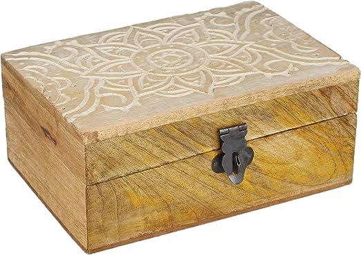 com-four® Caja de Madera con Tapa y Cierre de Metal - Caja de ...