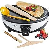 VonShef Pancake Maker – Crepe Maker with Batter Spreader, Oil Bush, Wooden Spatula & Ladle – Non-Stick, Electric 1000W