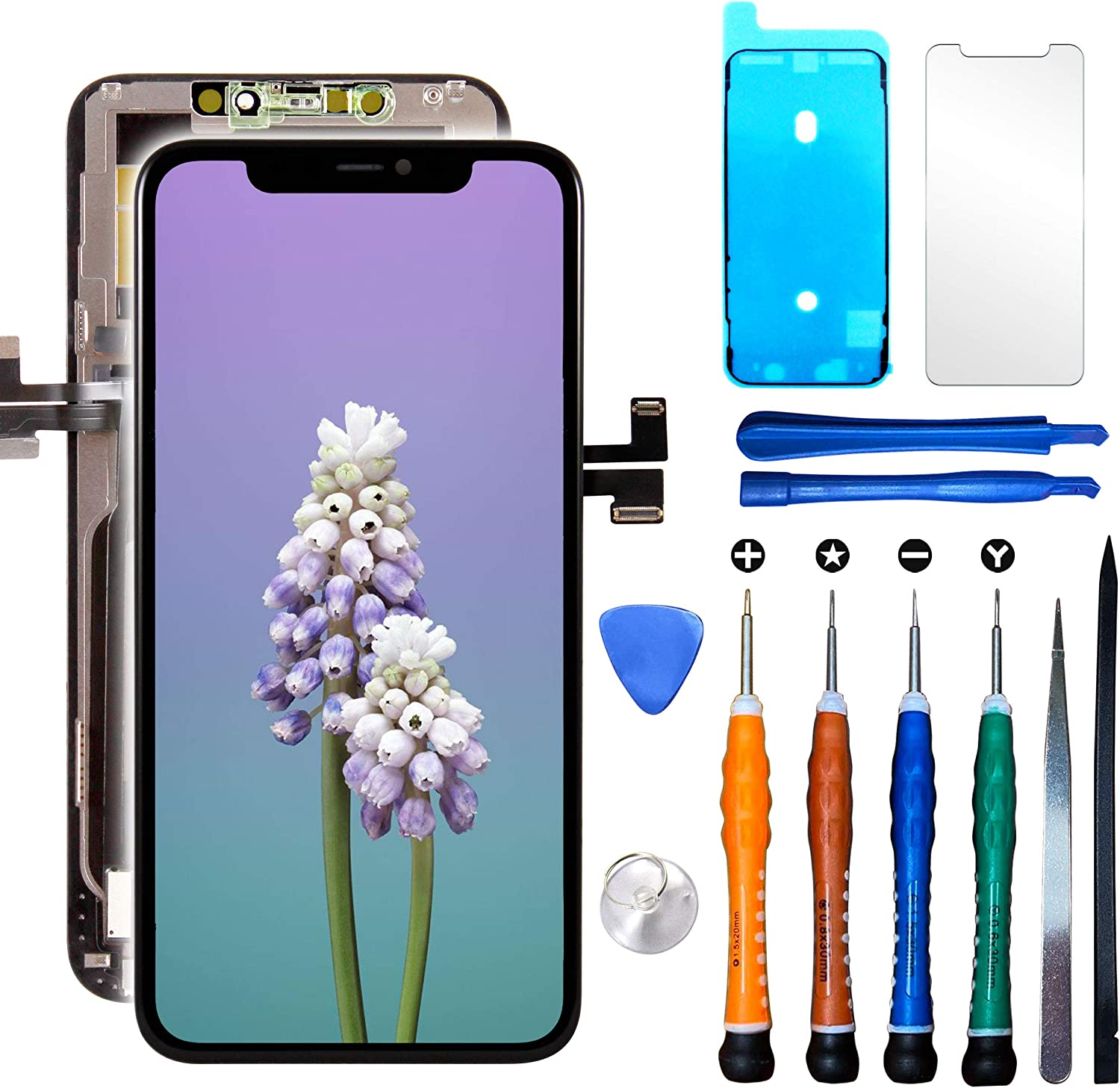 LCD Screen Replacement Compatible with iPhone 11 Pro Max 6.5 inch (Model A2161, A2220, A2218) 3D Touch Screen Display Digitizer Frame Assembly Repair Kit with Repair Tools