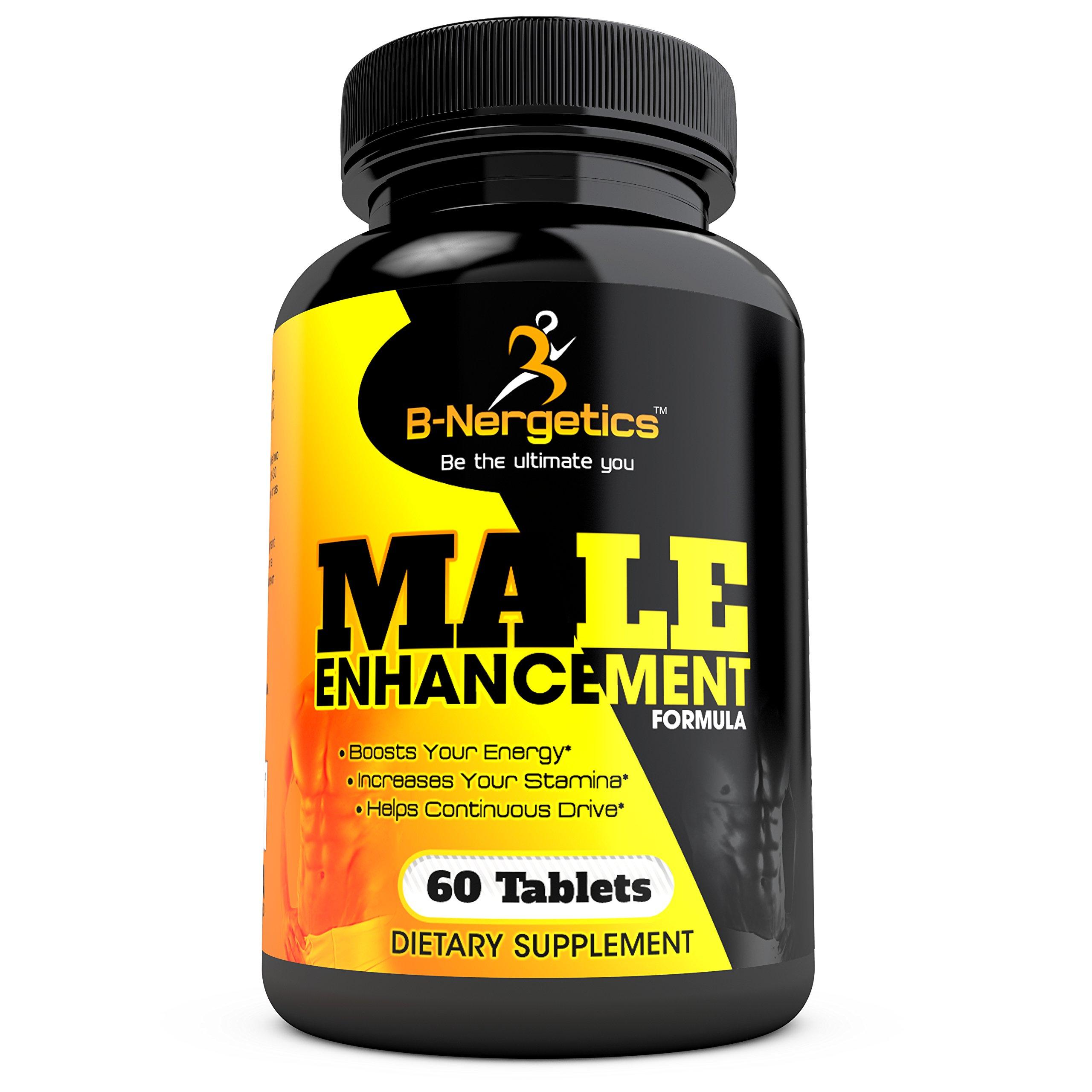 Male Enhancement Supplement - Natural Testosterone Booster Formula with Maca, Tribulus, L-Arginine, Tongkat Ali, Ginseng, Zinc, by B-Nergetics - 60 Tablets
