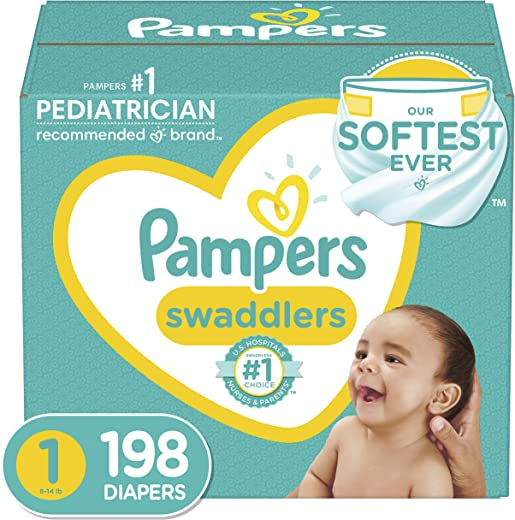 Diapers Newborn / Size 1 (8-14 lb), 198 Count - Pampers Swaddlers...