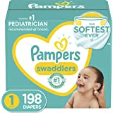 Baby Diapers Newborn/Size 1 (8-14 lb), 198 Count - Pampers Swaddlers, ONE MONTH SUPPLY (Packaging and Prints on Diapers May V