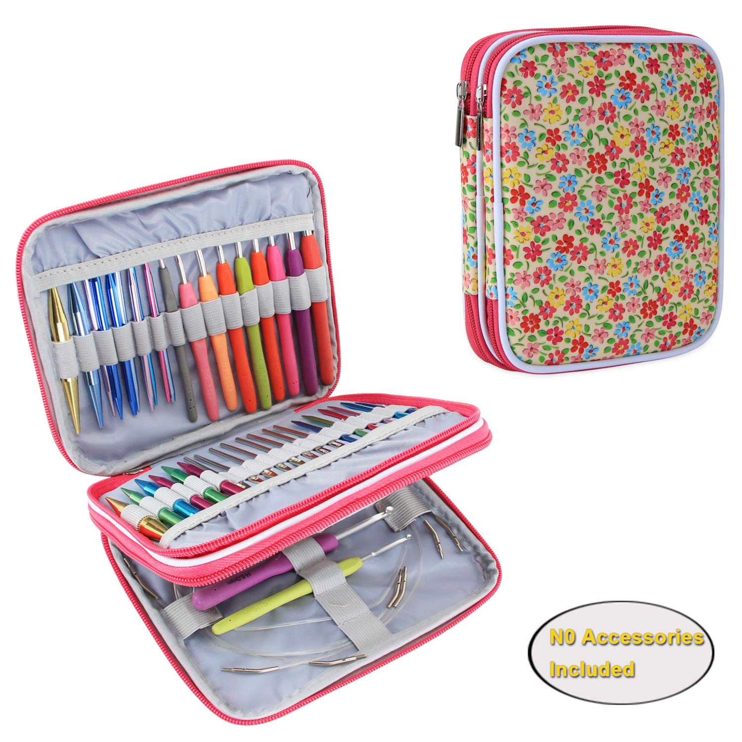 Teamoy Organizer Case for Interchangeable Circular Knitting Needles, Crochet Hooks and Knitting Accessories, Keep All in One Place and Easy to Carry, ...