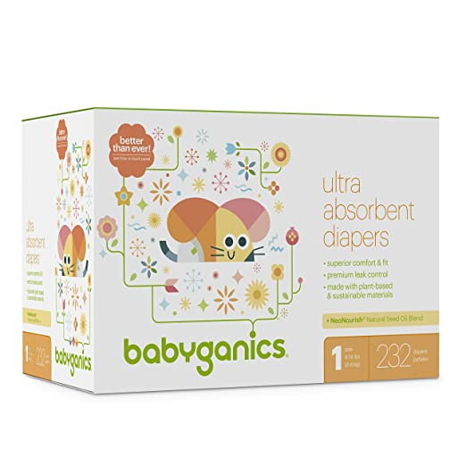 Babyganics Ultra Absorbent Diapers, Size 1