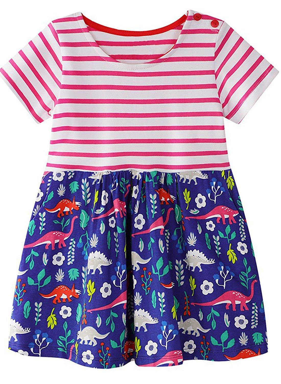 LYXIOF Kids Little Girls Short Sleeve Dresses Toddler Girls Cotton Striped T-Shirt Dress Cartoon Casual Tunic Shirts M 3T