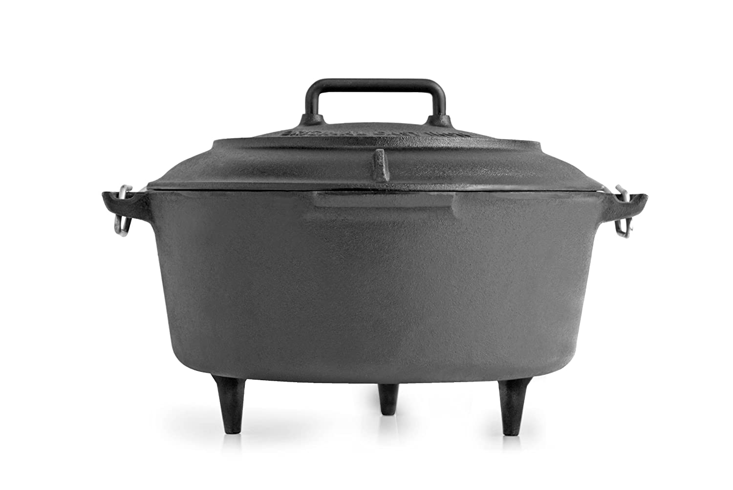 Volcano Grills VL-40-012 Cast Iron Vintage Style Dutch Oven for Camping, 8 quarts Black