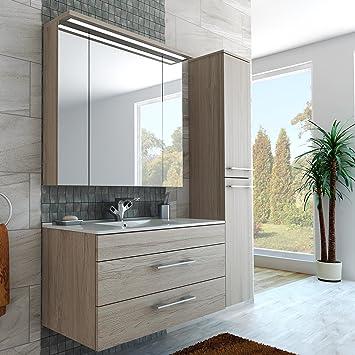 Amazon.de: Badezimmer Möbel Set 100 cm breite mit Spiegelschrank ...