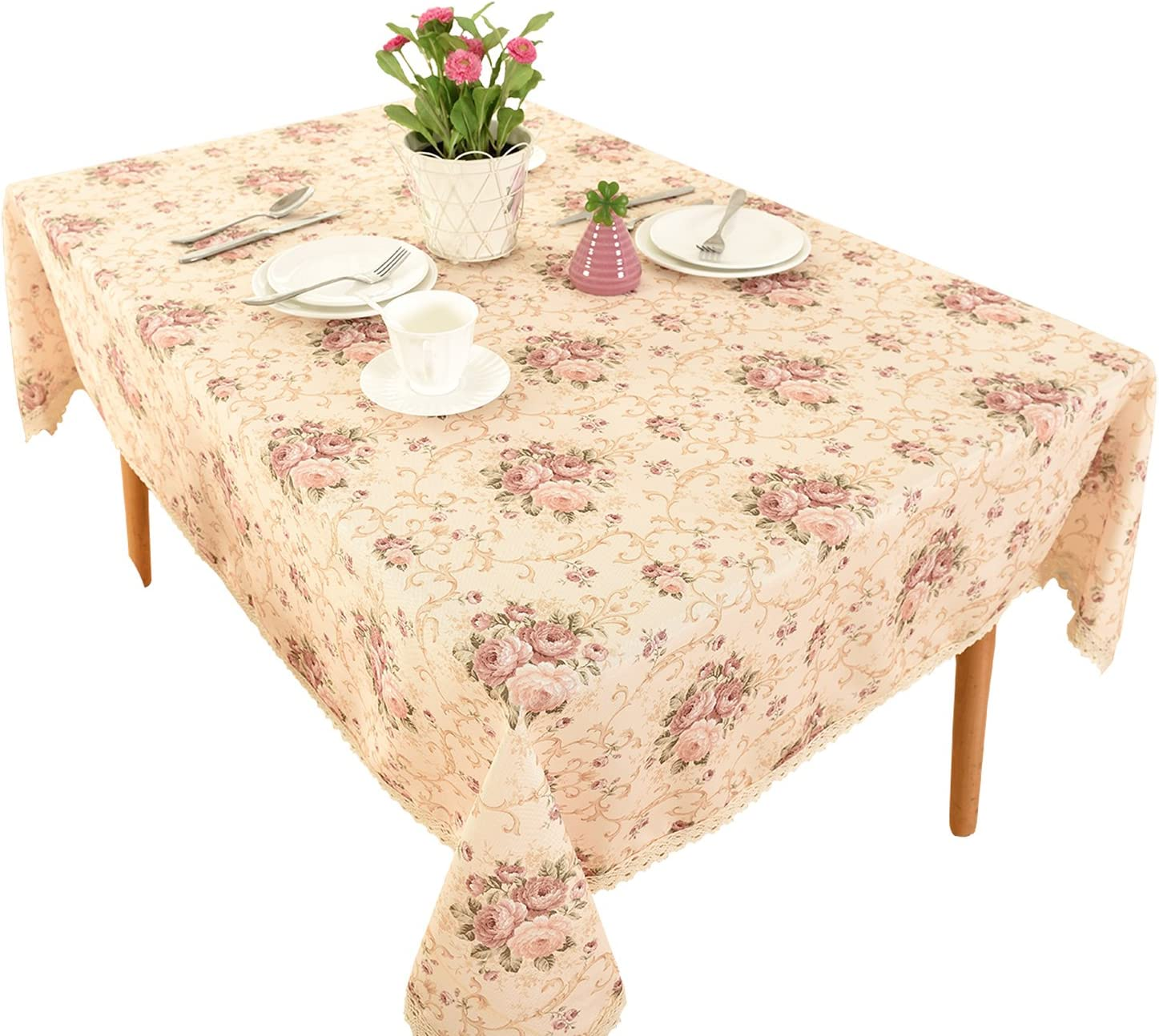 HIGHFLY Vintage Flower Decorative 55x87 Rectangle Linen Tablecloth Printed Pattern Washable Table Cloth Dinner Kitchen Home Decor - Multi Colors & Sizes