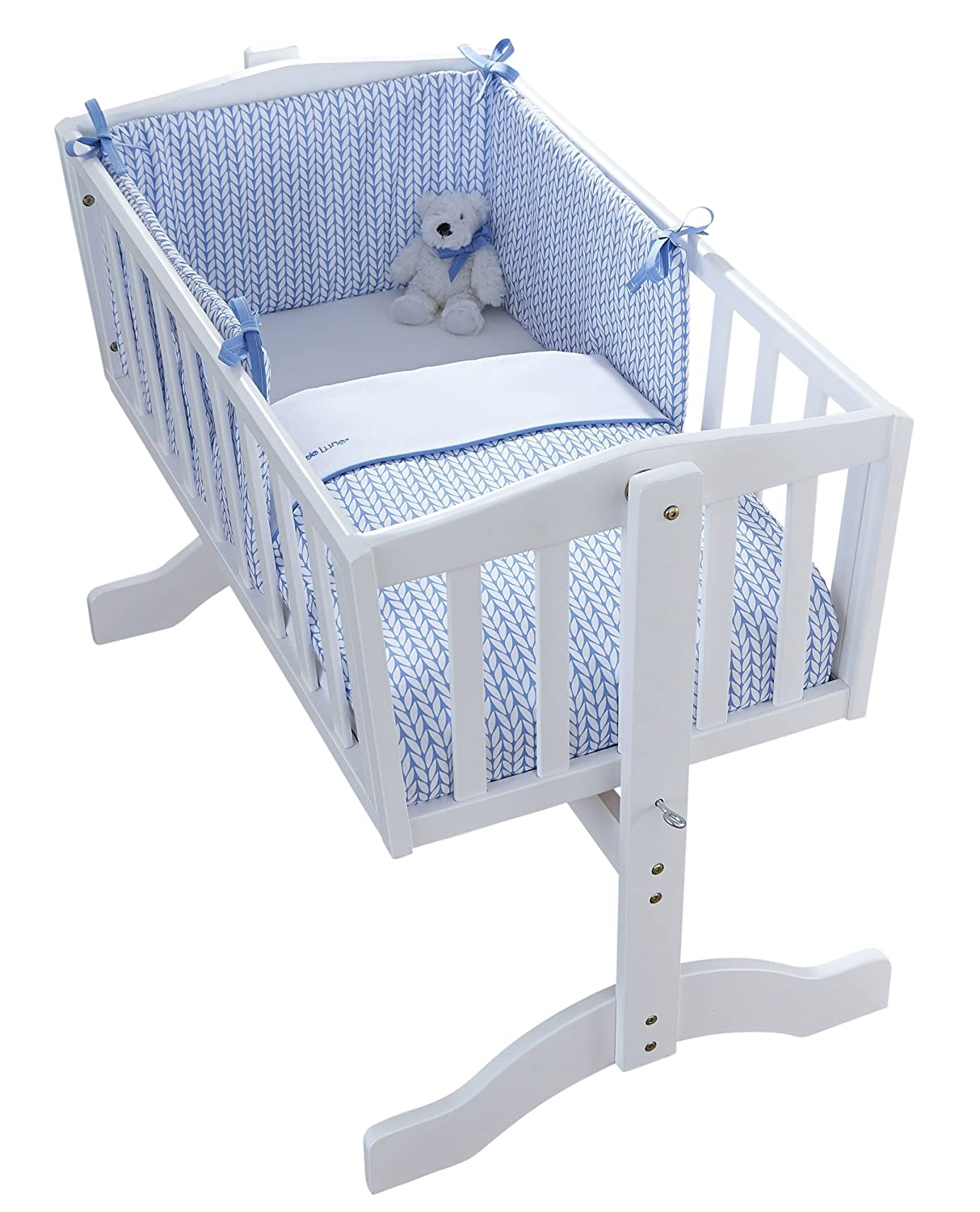 Clair de Lune Barley Bebe Crib/Cradle Quilt and Bumper (Blue, 2-Piece) CL5767BE