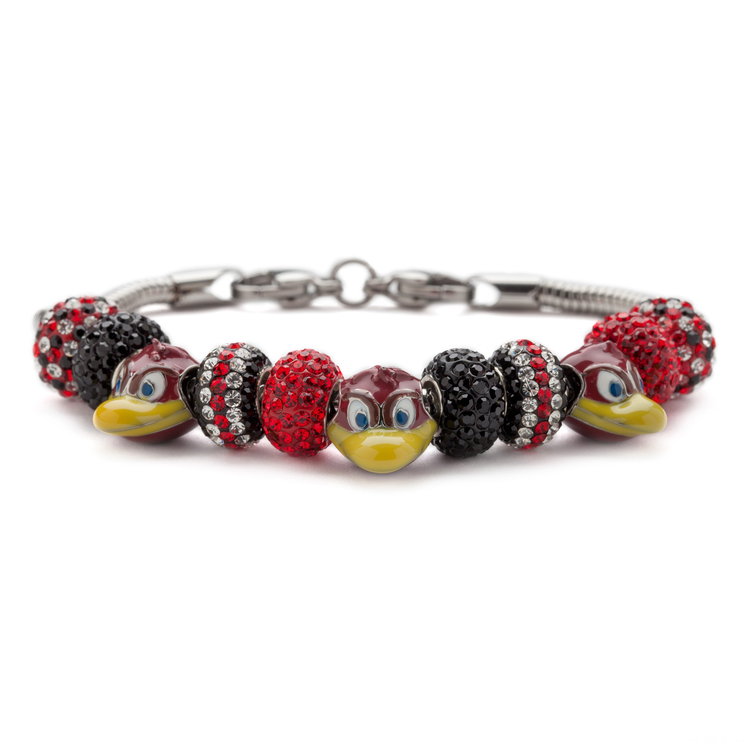 University of South Carolina Bracelet | USC Gamecocks - Charm Bracelet with 3 Cocky Beads and 8 Crystal Charms | Officially Licensed University of South Carolina Jewelry | Stainless Steel by Stone Armory
