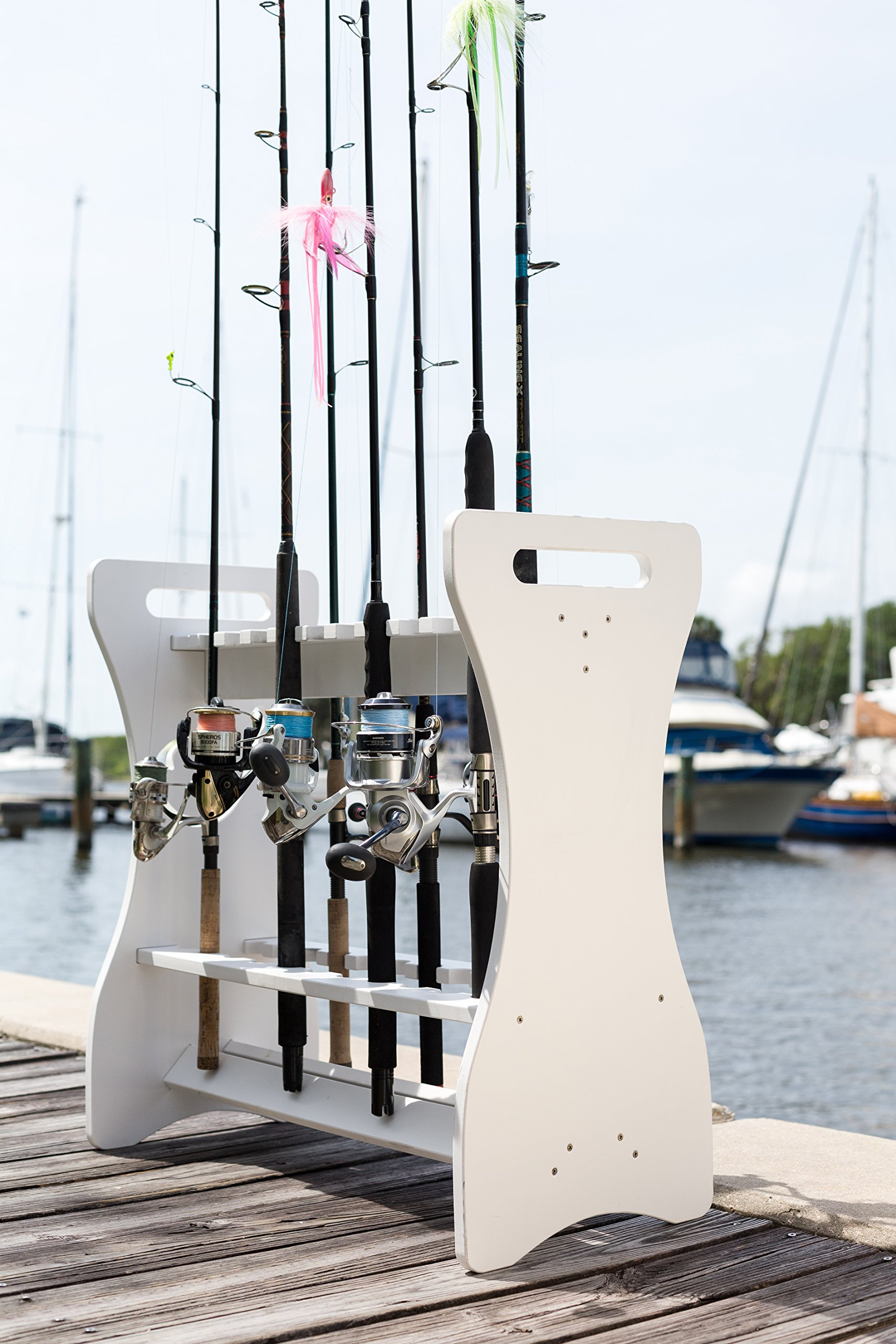 Fishing Rod Rack - Classic White - Store and Organize up to 24 Fishing Rods and Reels by Sea Racks