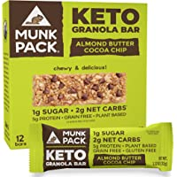 Munk Pack Almond Butter Cocoa Chip Keto Granola Bars with 1g Sugar, 2g Net Carbs | Keto Snacks | Chewy & Grain Free | Plant Based, Paleo-Friendly | Gluten Free, Soy Free | No Sugar Added | 12 Pack