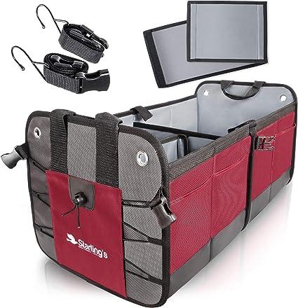 Organizador de maletero de coche Starling's – Almacenamiento duradero SUV Cargo Organizador ajustable Burdeos