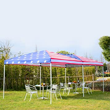 outsunny 10u0027 x 20u0027 popup canopy shelter party tent with mesh walls - 10x20 Pop Up Canopy