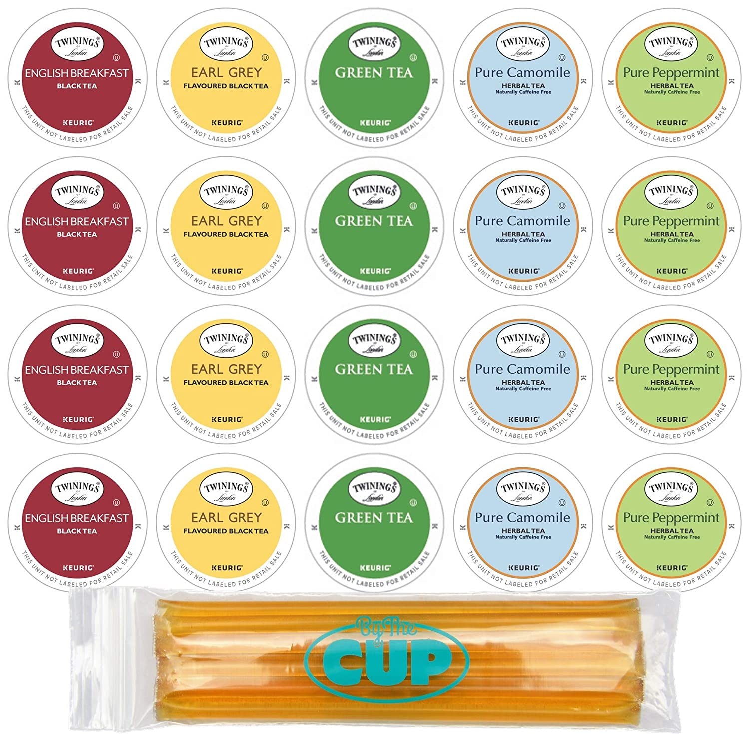 Twinings Tea Sampler Keurig K Cups Assortment 20 Count with 10 By The Cup Honey Sticks