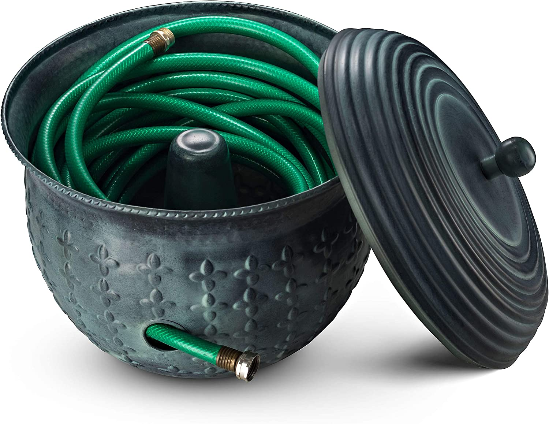 Amazon Com Garden Hose Holder Storage Pot Copper With Lid Antique Green Finish Lattice Steel Updated For November 2020 Home Kitchen