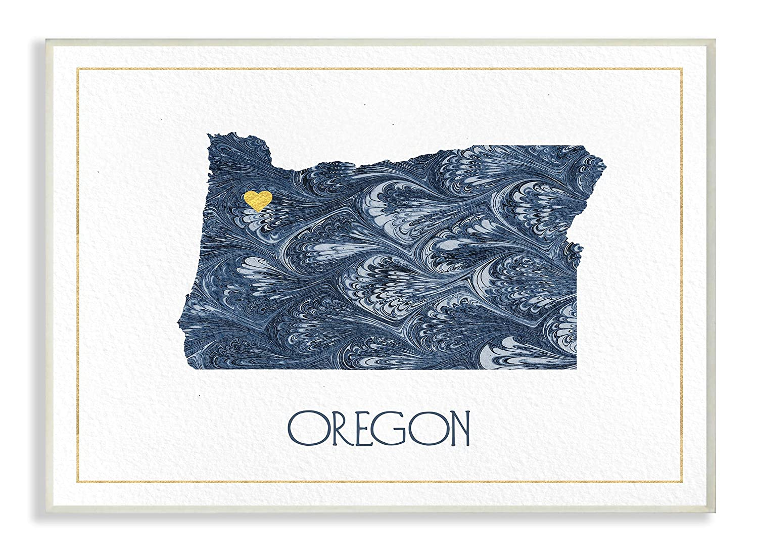 The Stupell Home Decor Oregon Minimal Blue Marbled Paper Silhouette Wall Plaque Art, 10 x 15, Multi-Color