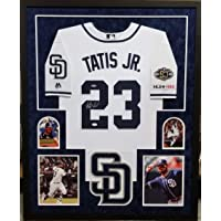 $449 » Fernando Tatis Jr San Diego Padres Autograph Signed Custom Framed Authentic Jersey White Suede Matted 4 Picture JSA Signature Debut…