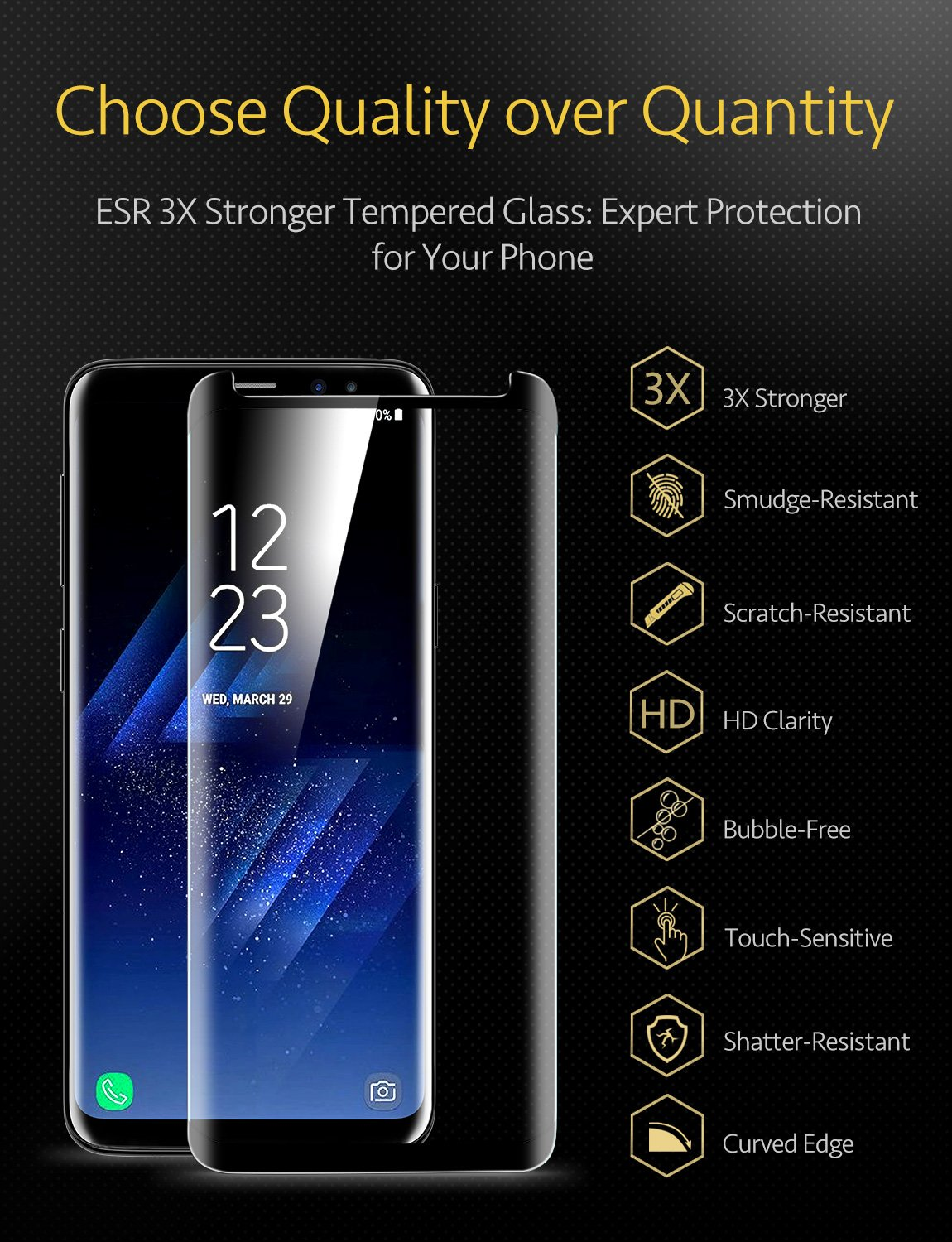 ESR Samsung Galaxy S9 Plus S9+ Screen Protector, (2-Pack) Galaxy S9 Plus Tempered Glass Screen Protector [Force Resistant up to 11 pounds] Case Friendly Samsung Galaxy S9 Plus 2018 Released by ESR (Image #2)