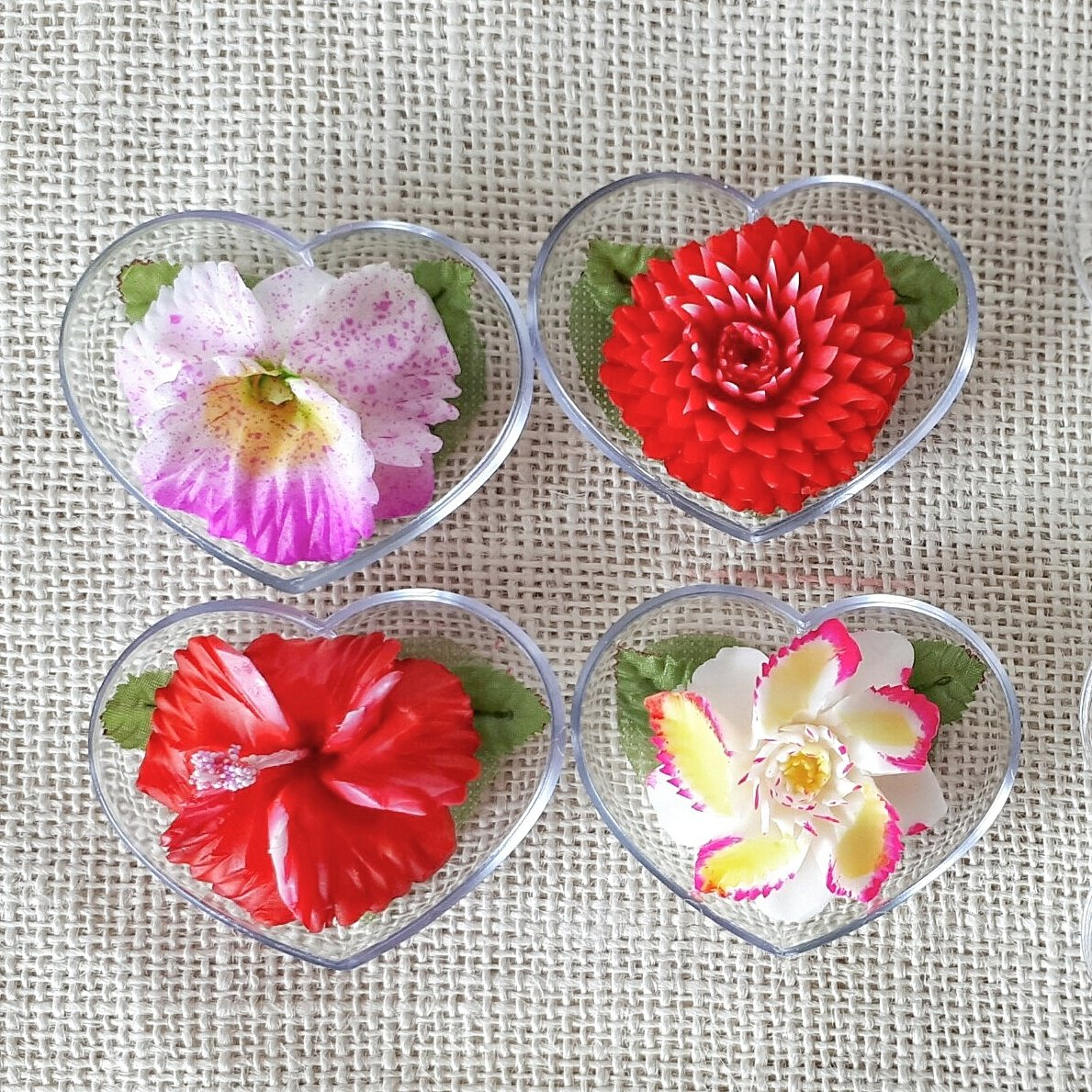 Exotic Flower Set of 4 Hand Carved Decorative Soaps with Jasmine Aroma Essential Oil, Handmade Soap Carving by Thai Artisan