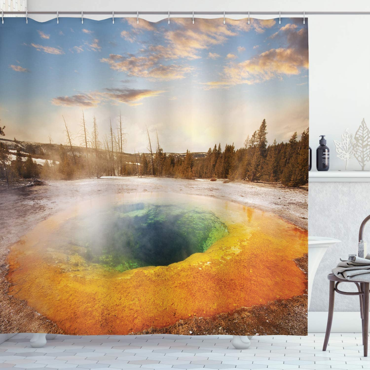 Forest Park Scenic Picture Reflection Sunset Landscape Picture Shower Curtain
