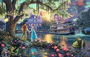 DIY Paint by Numbers Kit for Adults, DIY Paint by Numbers Landscape Scene Paintings Arts Craft for Home Wall Decor,Canvas, Brushes, Acrylic Paints Included (Princess and Frog, 16x20 inch)