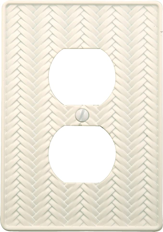 AmerTac 89DWL Weave Cast Metal Single Duplex Outlet Wallplate White
