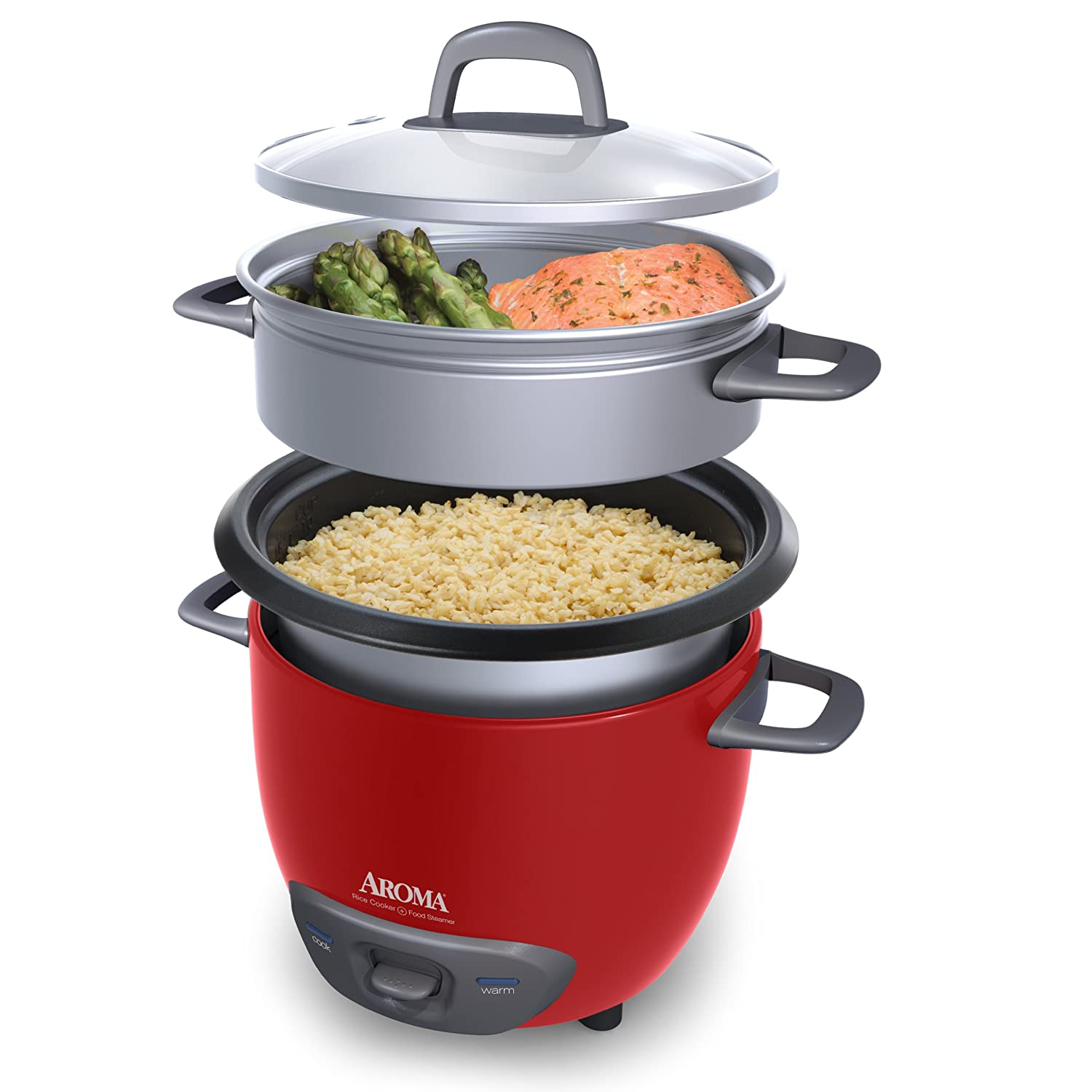 Amazon.com: Aroma Housewares 6-Cup (Cooked) (3-Cup UNCOOKED) Pot Style Rice  Cooker and Food Steamer: Kitchen & Dining