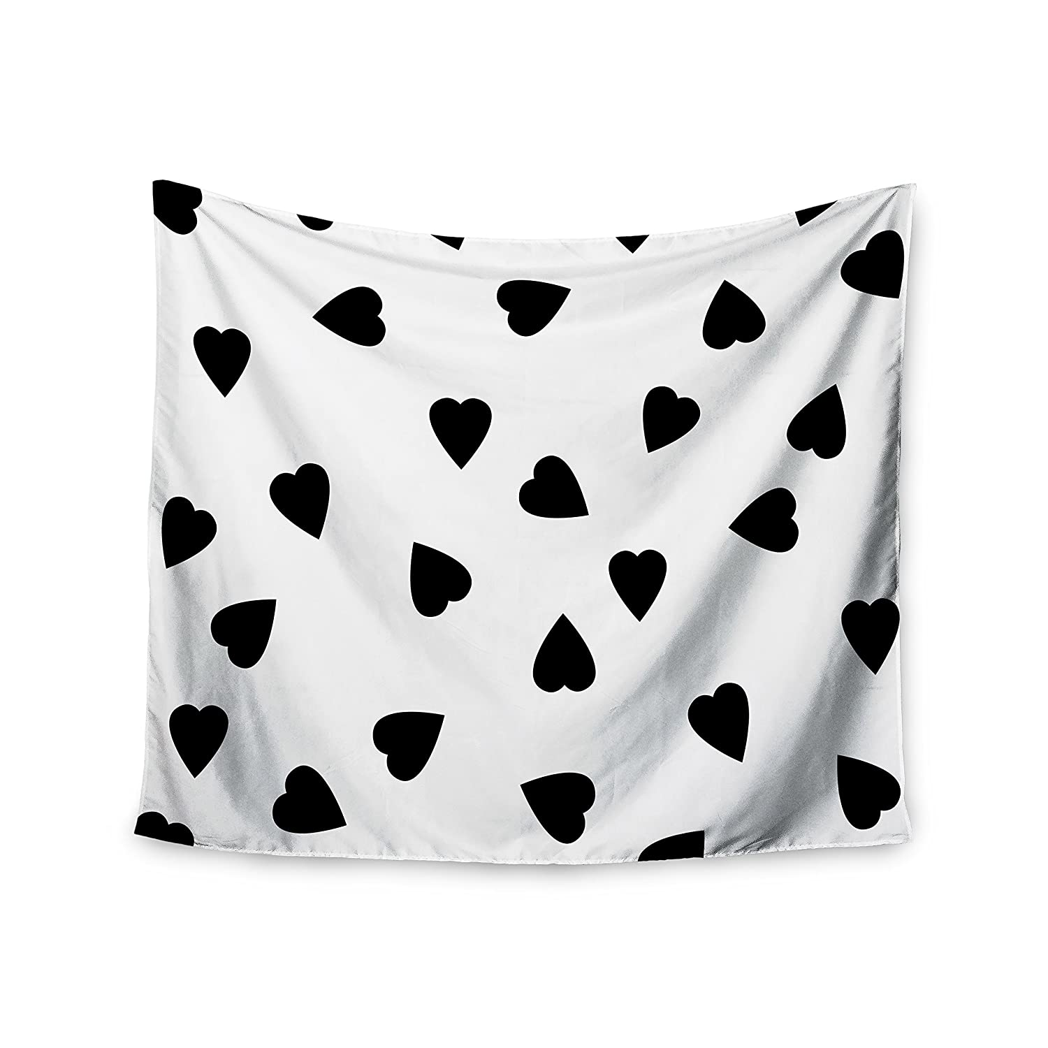 68 X 80 Kess InHouse Suzanne Carter Hearts Black White Wall Tapestry