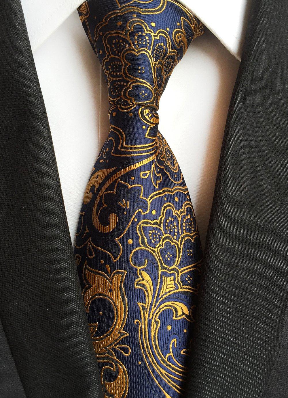 Paisley Ties for Men Jacquard Woven Necktie FXICAI Business Fashion Classic Casual Tie Bar Clip Set (Golden) by FXICAI (Image #2)