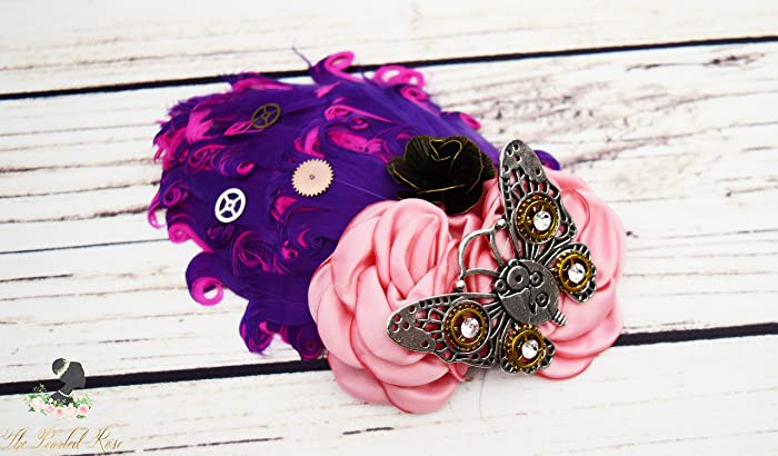 a96b5124b219 Amazon.com  Handcrafted Steampunk Butterfly Hair Clip - Hot Pink and Purple  Feather Hair Accessory - Butterfly Wedding - Steampunk Cosplay - Gears  Wheel  ...
