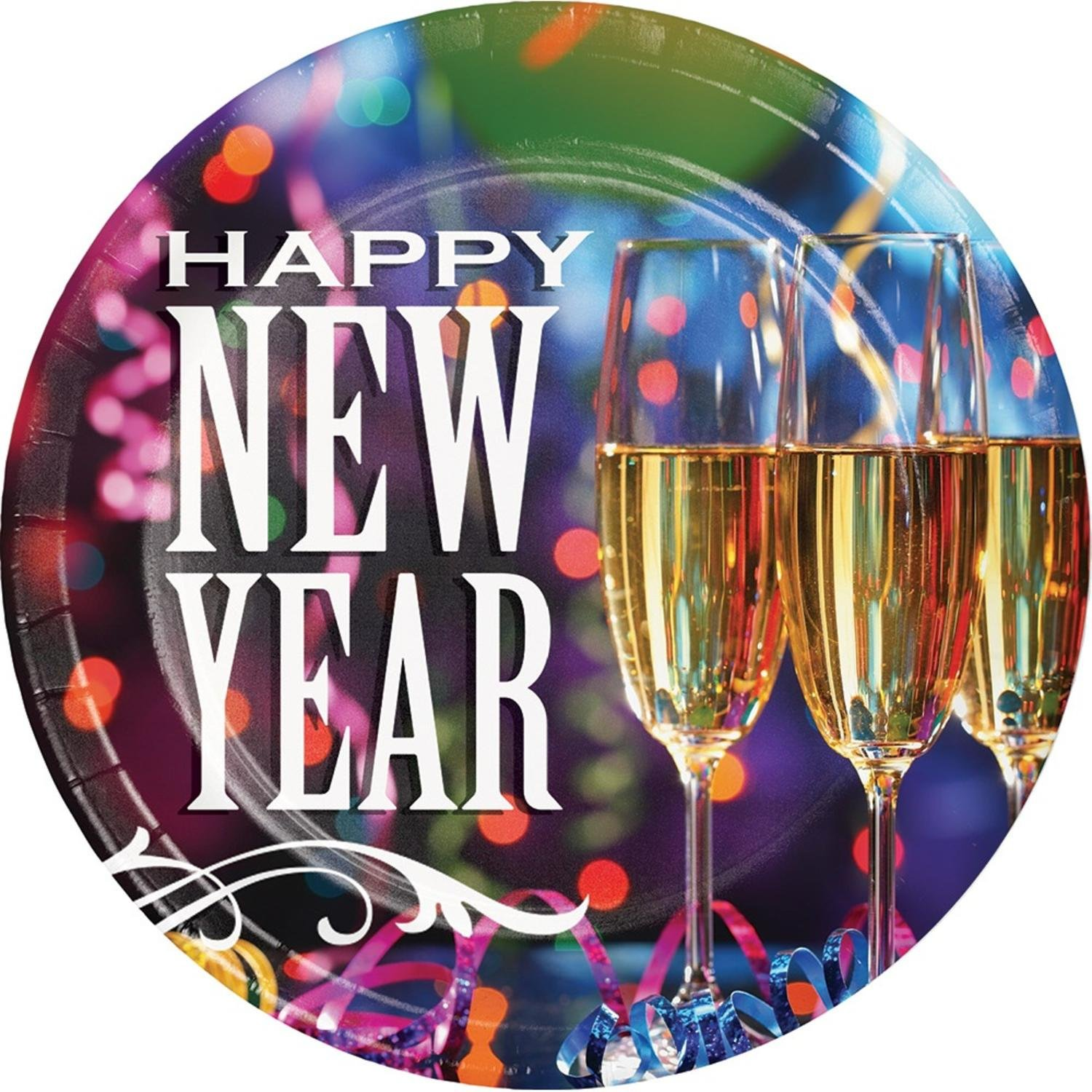 Pink And Blue New Year Design Printed Decorative Pizzaz Luncheon Plate 7''