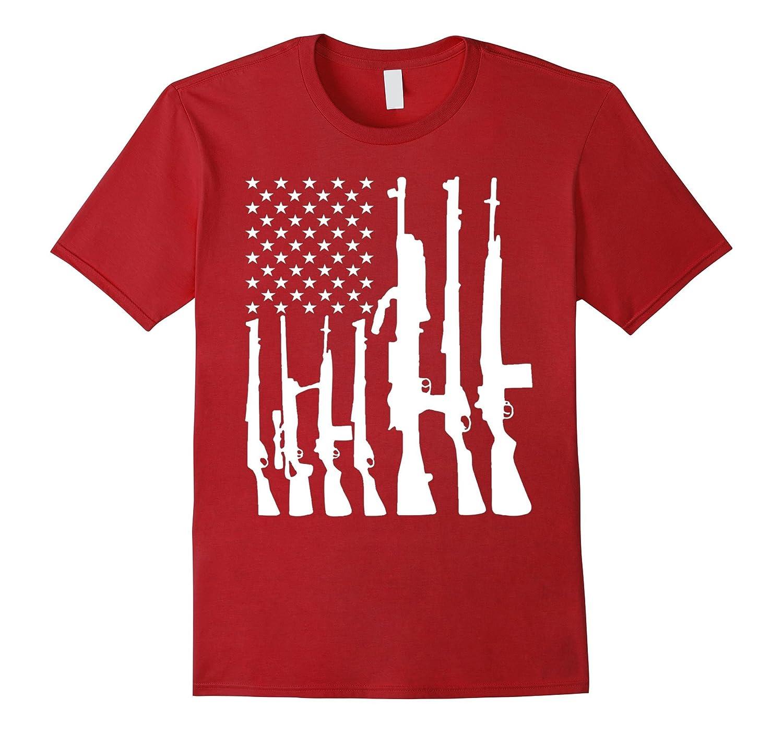 Never Disarm Rifle American Flag With Gun Rights gun T-Shirt-TD