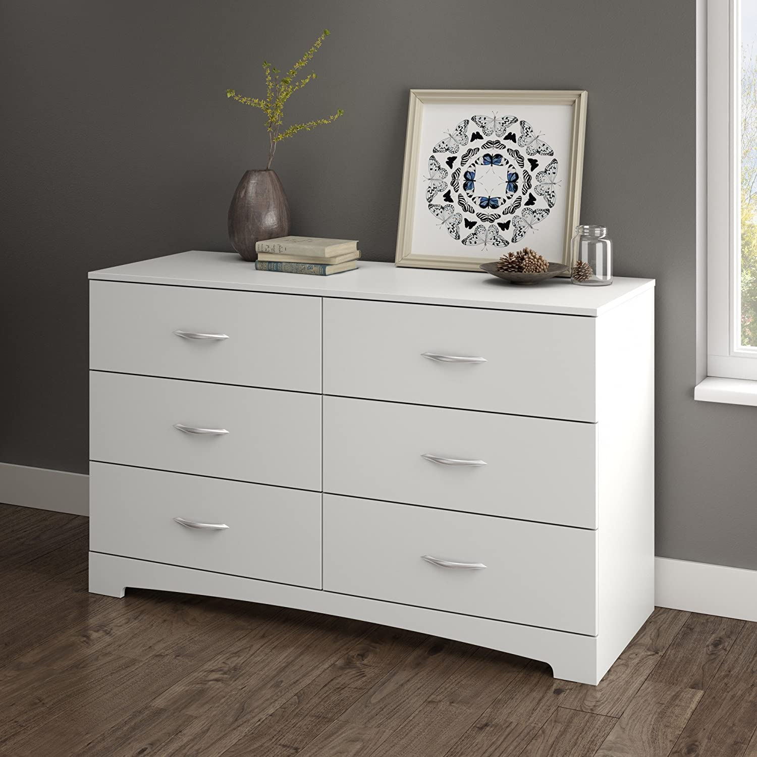 Beau Amazon.com: South Shore Step One 6 Drawer Double Dresser, White With Matte  Nickel Handles: Kitchen U0026 Dining
