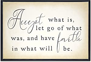 Homekor Accept Faith Inspirational Quotes - Motivational Faith Religious Saying Sign Accept What is, Let Go of What was, and Have Faith in What Will Be Hanging Wall Decor Framed Canvas Print 18 x 12