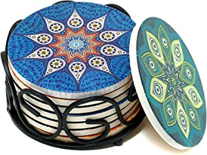 Coaster Set & Round Iron Holder Bundle - Coasters for Drink Absorbent 8 Pack with 4 Mandala Patterns PLUS A Black Metal Organizer - ENKORE Cup Mat Keep Your Furniture Clean,Storage Case Keep Them Tidy