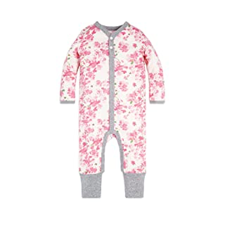 Burt's Bees Baby Baby Girl's Romper Jumpsuit, 100% Organic Cotton One-Piece Coverall, Blossom Peony, 6-9 Months