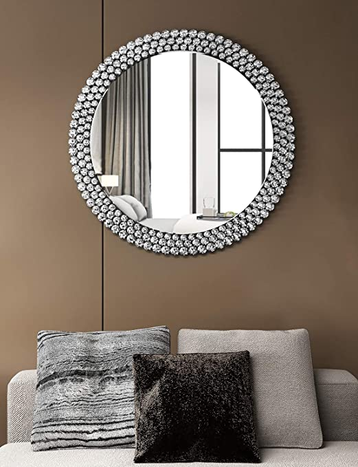 Amazon Com Luxury Large Round Wall Mirror Decorative 40 X 40 Circle Wall Mirror For Decor Fireplace Bedroom Livingroom Furniture Decor
