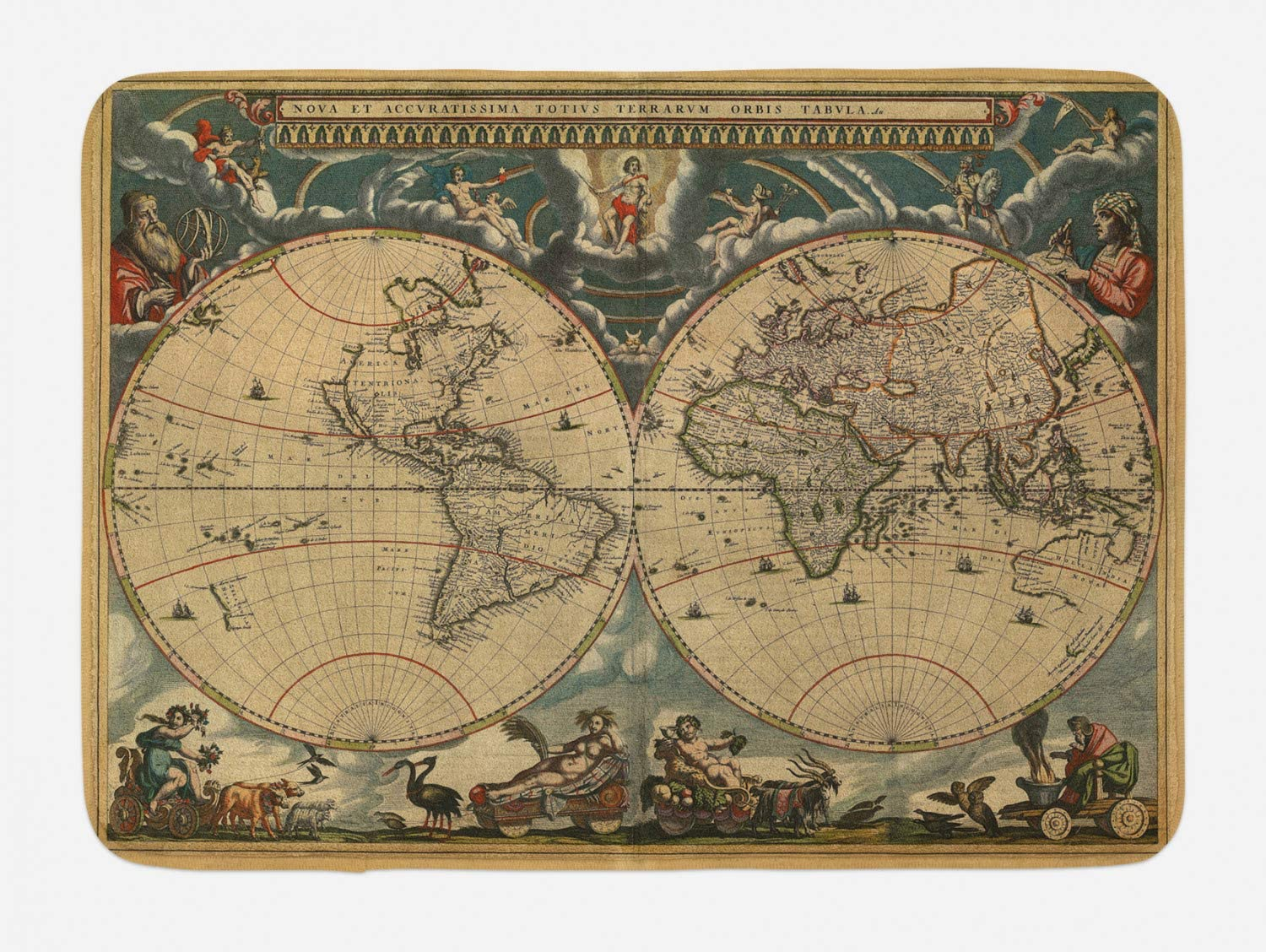 Ambesonne Vintage Bath Mat, Dated Old Map of World Historic Geography Theme Antique Grungy Design Print, Plush Bathroom Decor Mat with Non Slip Backing, 29.5